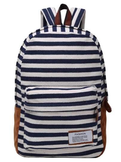 حقيبة ظهر قماش مخططة زرقاء بيضاء