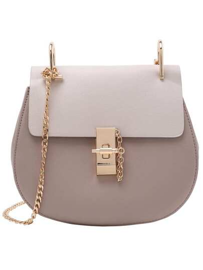 Contrast Faux Leather Chain Saddle Bag - Grey