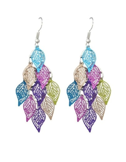 Colorful Long Drop Leaf Shape Earrings