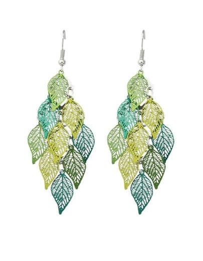 Green Long Drop Leaf Shape Earrings