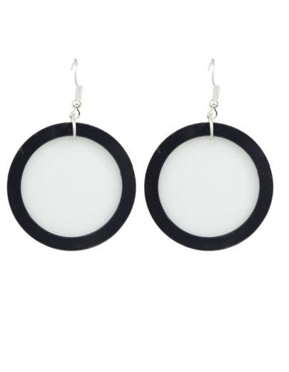 Acrylic White Big Round Earrings