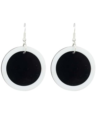 Acrylic Black Big Round Earrings