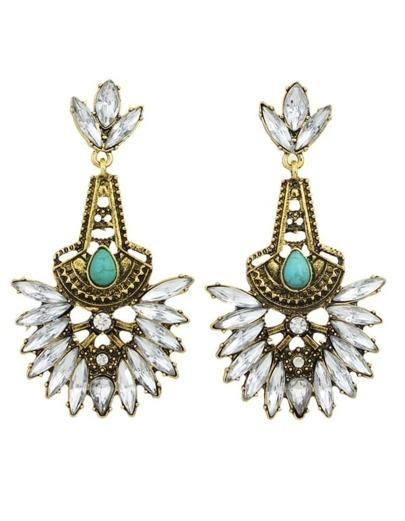 Gold Rhinestone Long Stone Earrings