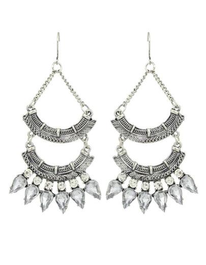 Silver Rhinestone Long Chandelier Earrings