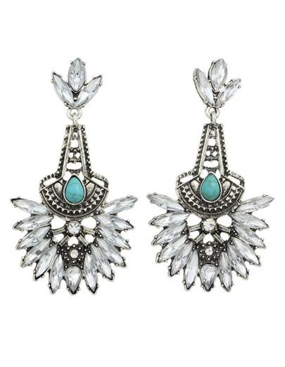 Silver Rhinestone Long Stone Earrings