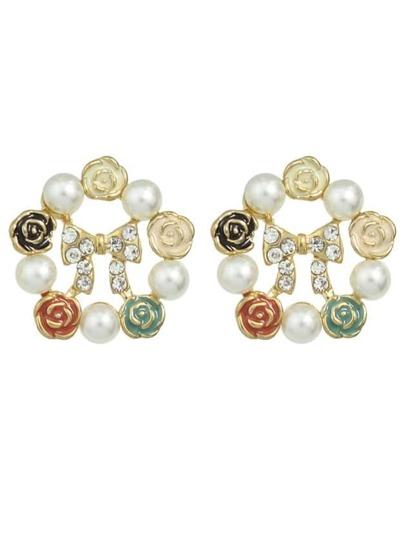 Colorful Rhinestone Pearl Stud Earrings