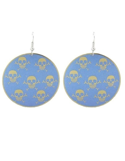 Blue Skull Printed Round Big Earrings