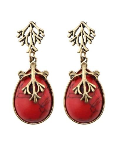 Red Drop Turqoise Earrings
