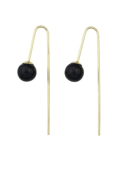 Black Long Post Stud Earrings