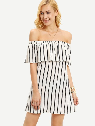Ruffled Off-The-Shoulder Vertical Striped Dress