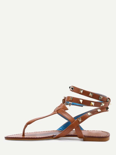 Brown Studded Flat Thong Sandals