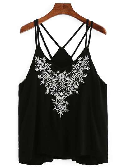 Embroidered Neckline Stappy Cami Top
