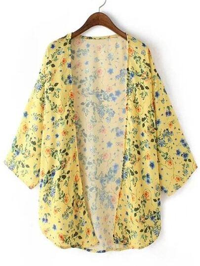 Yellow Split Side Flowers Print Cardigan Kimono