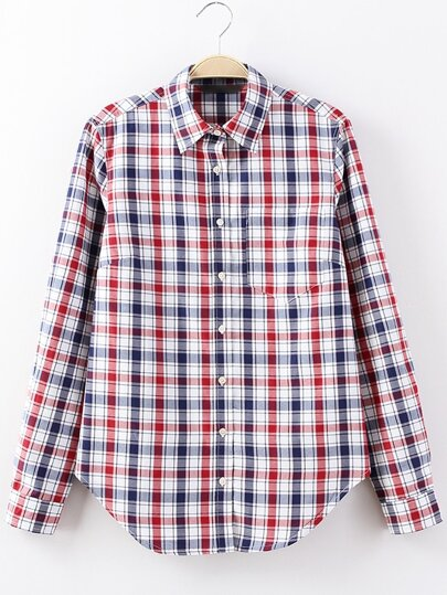 Red Pocket Buttons Front Plaids Blouse