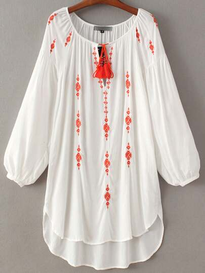 White Lantern Sleeve Tie Neck Tassel Embroidery Dress