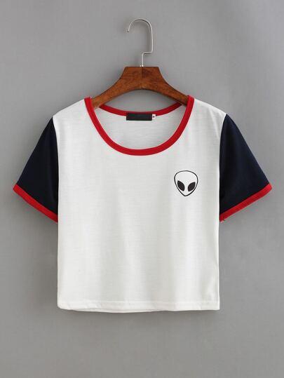T-shirt stampa extraterrestre colore combinato