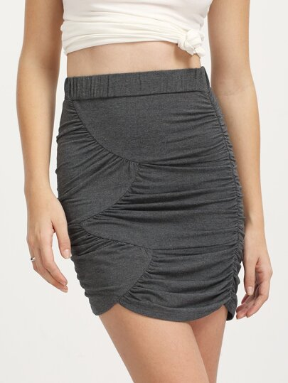 Dark Grey Pleated Bodycon Skirt