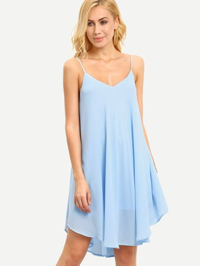 Light Blue Spaghetti Strap Asymmetrical Shift Dress