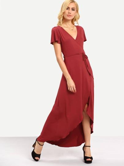 Red Short Sleeve Tie Waist Dip Hem Dress