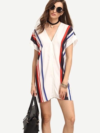 White Print Short Sleeve V Neck Shift Dress