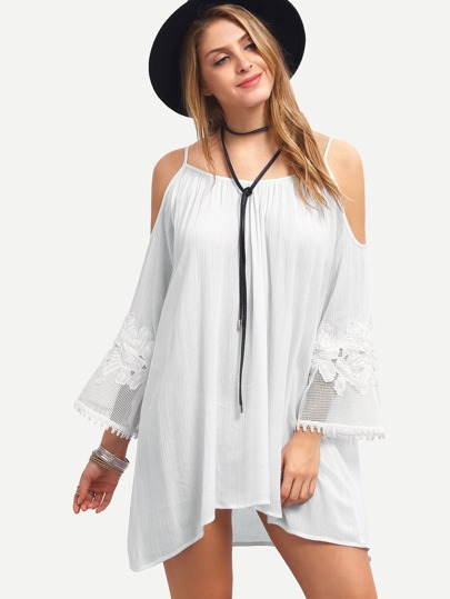 White Cold Shoulder Long Sleeve Shift Dress