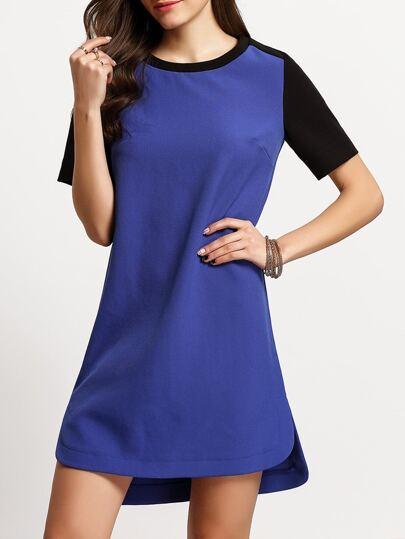Blue Short Sleeve Dip Hem T-shirt Dress