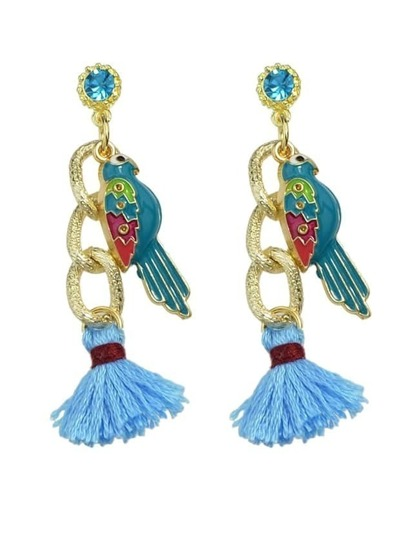 Blue Bird Tassel Drop Earrings