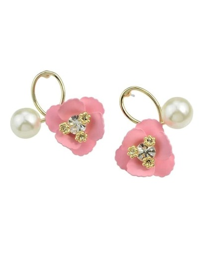 Pink Flower Pearl Small Stud Earrings
