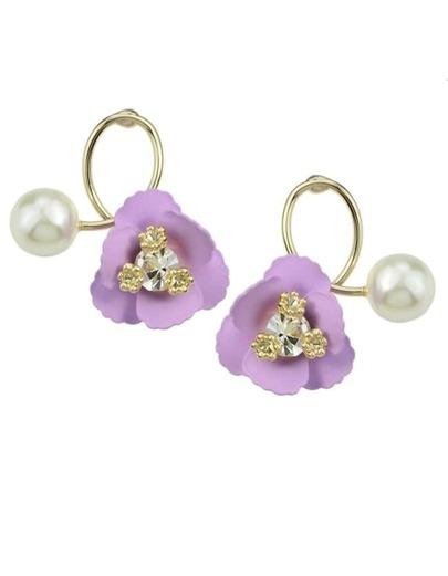 Purple Flower Pearl Small Stud Earrings