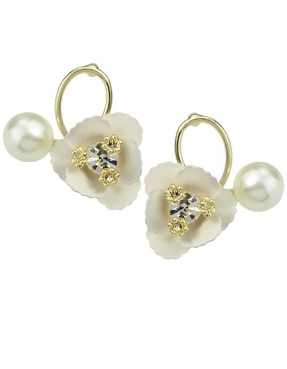 White Flower Pearl Small Stud Earrings