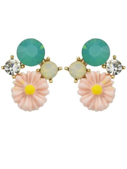 Pink Rhinestone Flower Stud Earrings