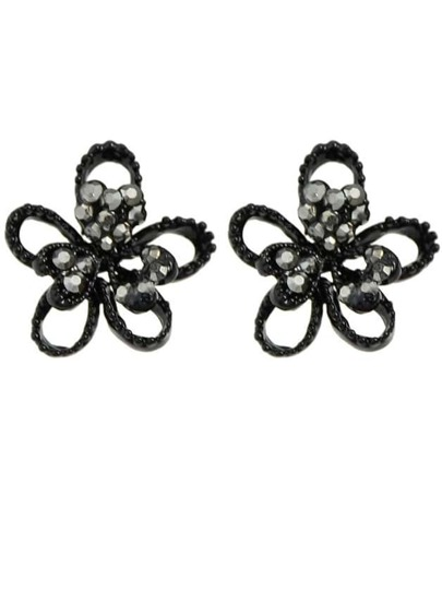 Black Small Flower Earrings