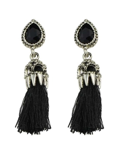 Black Long Tassel Earrings