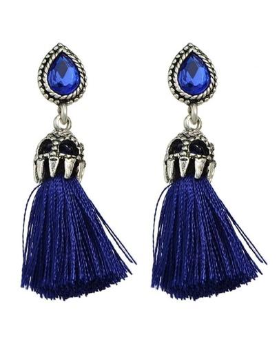 Blue Long Tassel Earrings