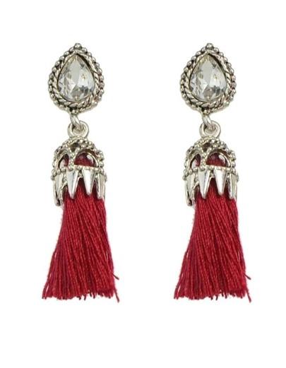 Red Long Tassel Earrings