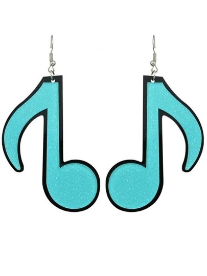 Blue Acrylic Music Drop Earrings