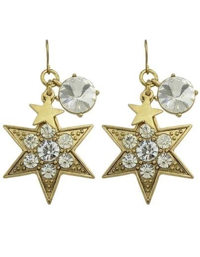 Rhinestone Star Drop Dangle Earrings