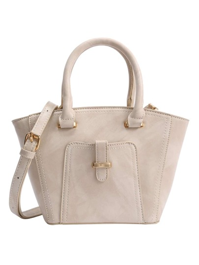 Marble Print Trapezoid Tote Bag - Beige