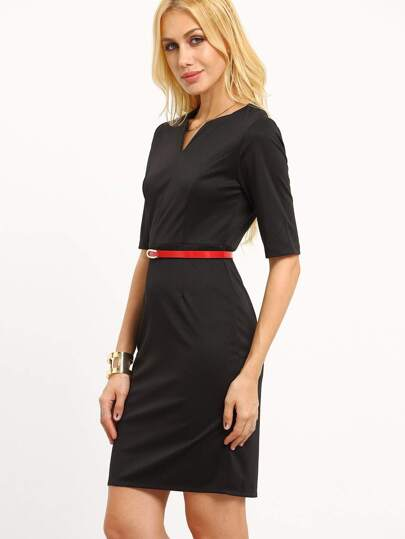 Belted V-Cut Neck Sheath Dress
