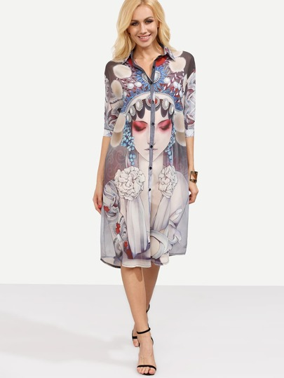 Peking Opera Face Print Shirt Dress