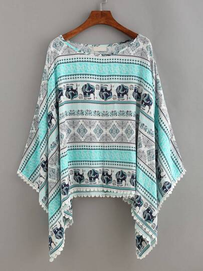Tribal Print Lace Trimmed Poncho Blouse