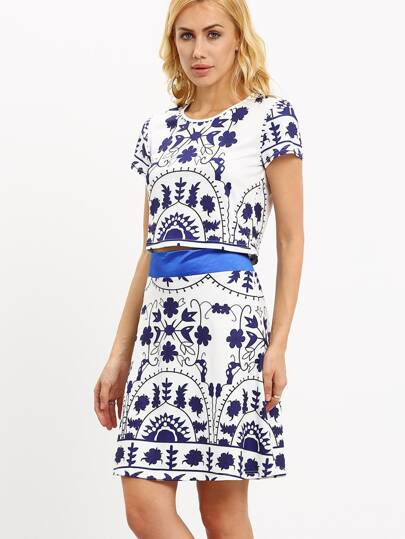 Blue and White Print Crop Top With Skirt