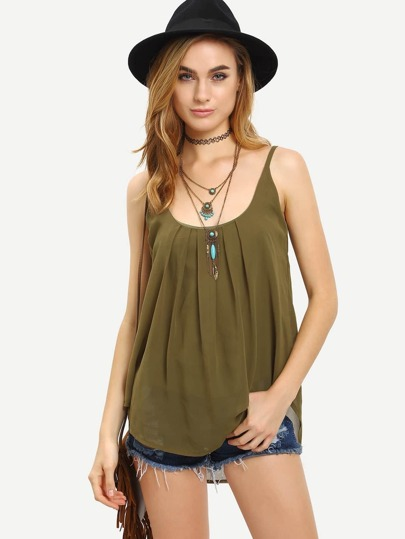 Pleated Chiffon Cami Top