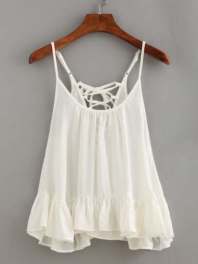 Lace-Up Ruffled Hem Cami Top - White