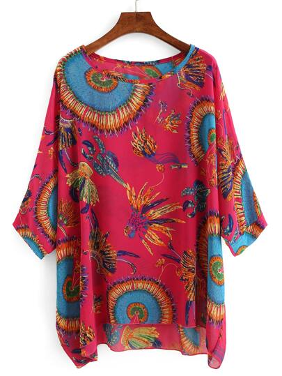Feather Print Chiffon Poncho Blouse