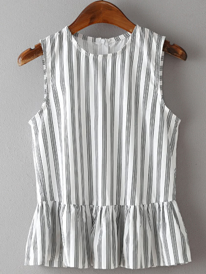 Vertical Striped Back Zipper Peplum Top