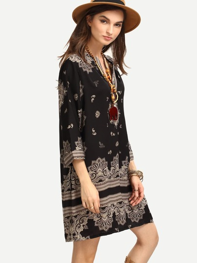Tribal Print Buttoned Placket Tunic Dress - Black