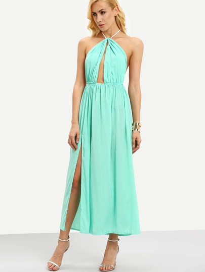 Halter Neck Open Front High Slit Dress