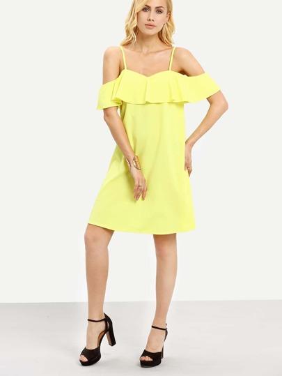 Ruffled Cold Shoulder Shift Dress