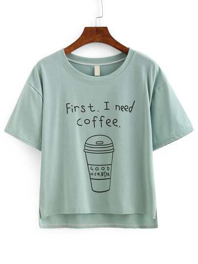Coffee Print High-Low T-shirt